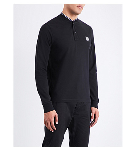 STONE ISLAND Henley stretch-cotton polo shirt (Black