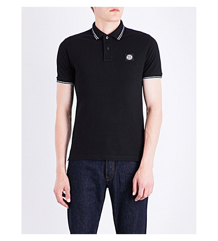 STONE ISLAND Striped-trim slim-fit stretch-cotton polo shirt (Black