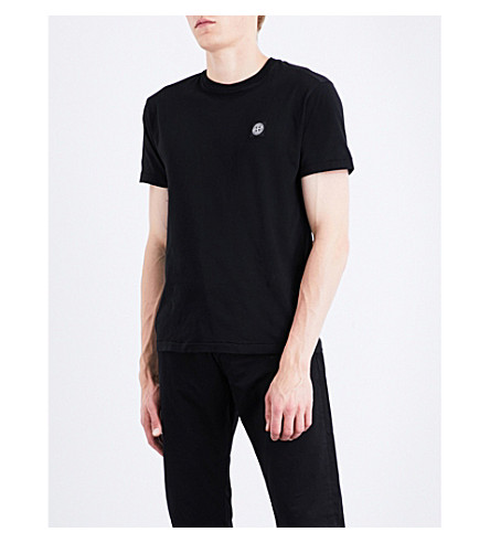 STONE ISLAND Logo-appliqué cotton-jersey T-shirt (Black