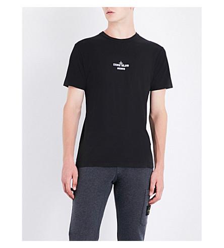 STONE ISLAND Archivio Mussola Gommata cotton-jersey T-shirt (Black