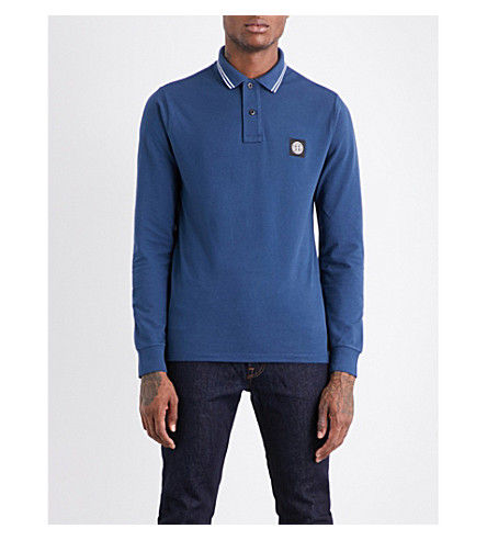 STONE ISLAND Slim-fit stretch-cotton polo shirt (Avio