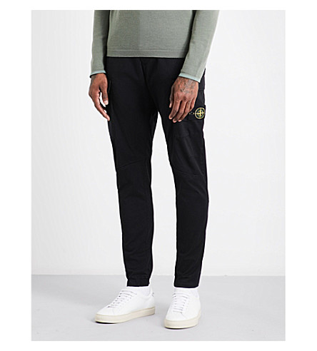 STONE ISLAND Tapered regular-fit mid-rise cotton trousers (Black