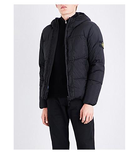 STONE ISLAND Garment-dyed crinkled shell jacket (Black