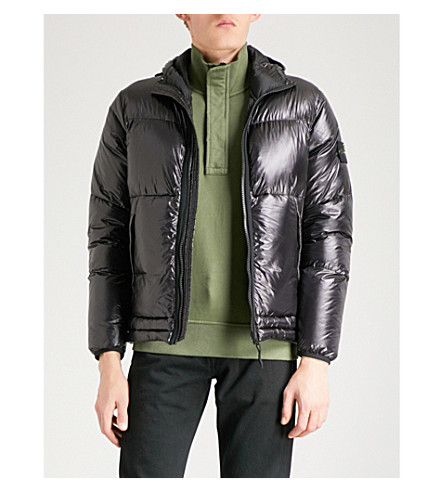 STONE ISLAND Pertex Quantum quilted hooded shell jacket (Black