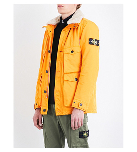STONE ISLAND David shearling-trim quilted coat (Orange