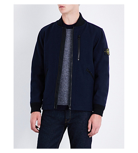 STONE ISLAND Stand-collar wool-blend bomber jacket (Navy