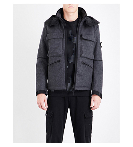 STONE ISLAND Panno-R 4L Stretch wool-blend jacket (Fumo