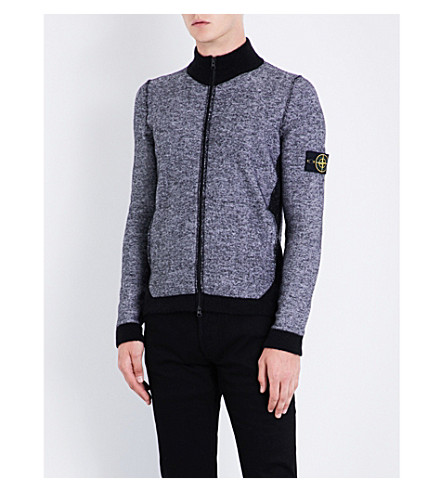 STONE ISLAND Zip-up wool-blend cardigan (Bco+naturale