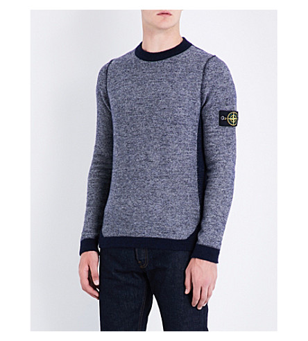 STONE ISLAND Reversed-effect wool-blend jumper (Grigio