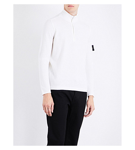 STONE ISLAND Lightweight half-zip wool-blend top (Bco+naturale