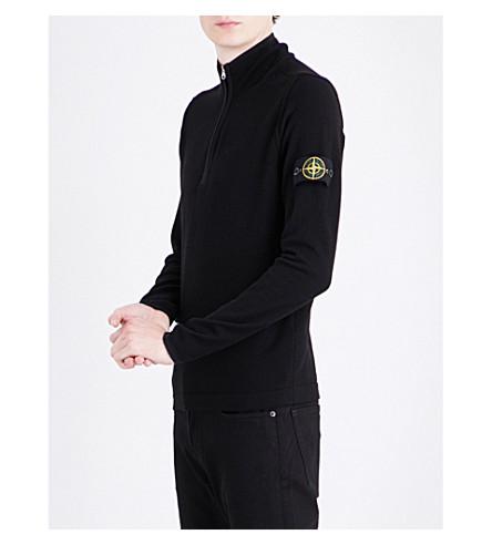 STONE ISLAND Lightweight half-zip wool-blend top (Black