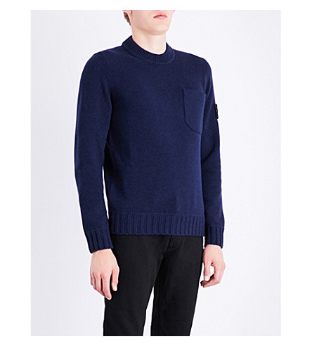 STONE ISLAND Crewneck wool-blend jumper (Blue+marine