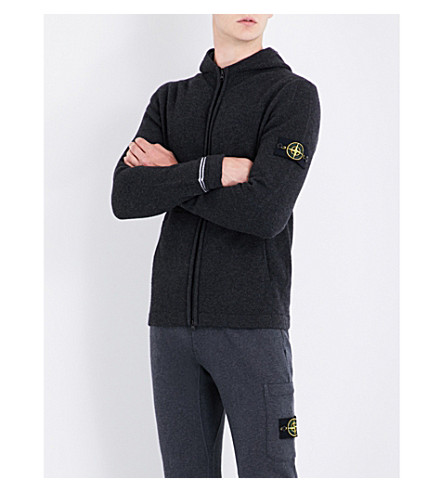 STONE ISLAND Zip-up wool-blend hoody (Antracite