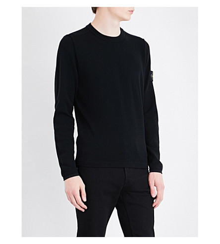 STONE ISLAND Lightweight wool-blend knitted jumper (Black