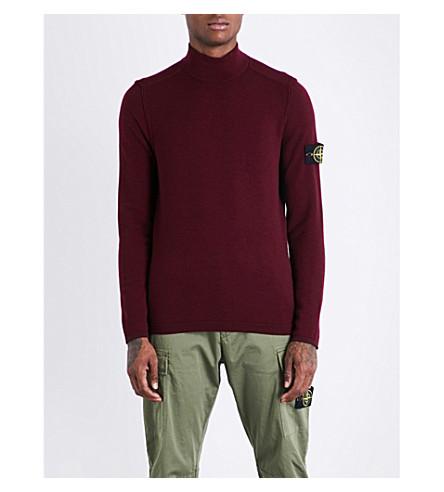 STONE ISLAND Lightweight knitted wool-blend jumper (Bordeaux