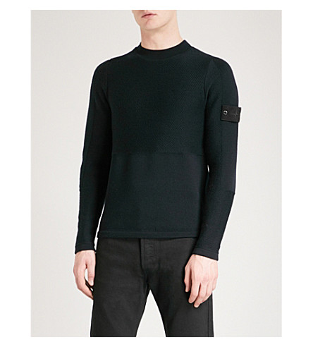 STONE ISLAND Ghost chunky-knit wool jumper (Black
