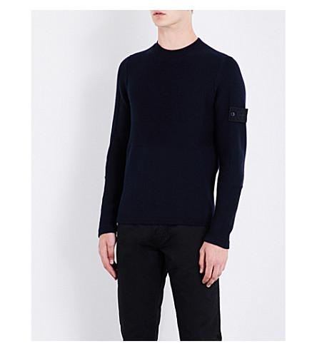 STONE ISLAND Ghost chunky-knit wool jumper (Navy