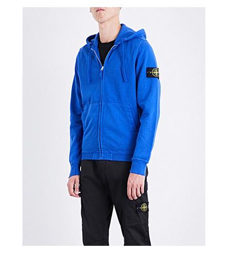 STONE ISLAND Logo-patch cotton-jersey hoody (Bluette