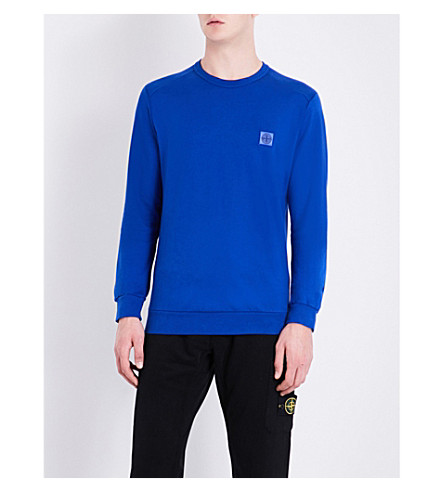 STONE ISLAND Logo-patch cotton-jersey sweatshirt (Bluette