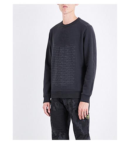 STONE ISLAND Habitat knitted cotton-jersey sweatshirt (Antracite