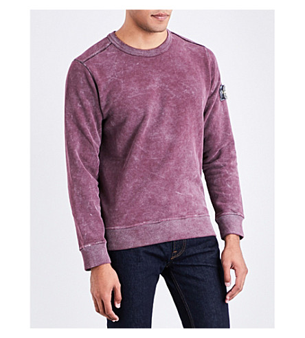 STONE ISLAND Painted-detail brushed cotton-jersey sweatshirt (Bordeaux