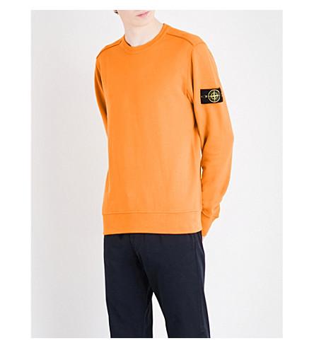 STONE ISLAND Crewneck cotton-jersey sweatshirt (Arancio