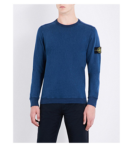STONE ISLAND Vintage-wash cotton-jersey sweatshirt (Avio