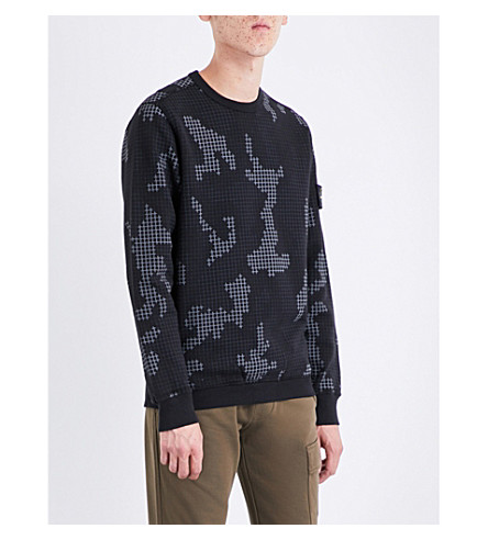 STONE ISLAND Grid camouflage cotton-jersey sweatshirt (Black