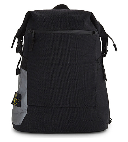 STONE ISLAND Panama nylon canvas backpack (Black