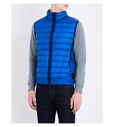 STONE ISLAND Stand-collar quilted gilet (Bluette