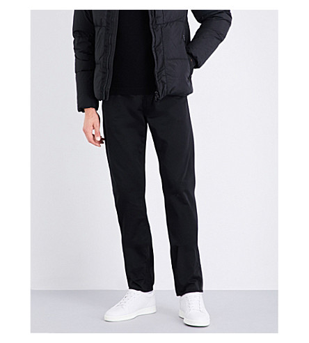 STONE ISLAND Tapered mid-rise cotton-sateen jeans (Black