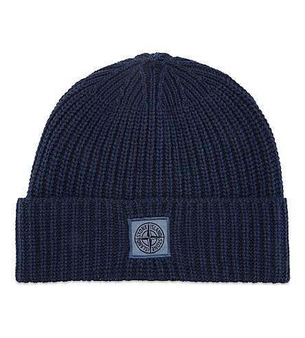 STONE ISLAND Patch logo wool-cashmere blend beanie (Avio+blue