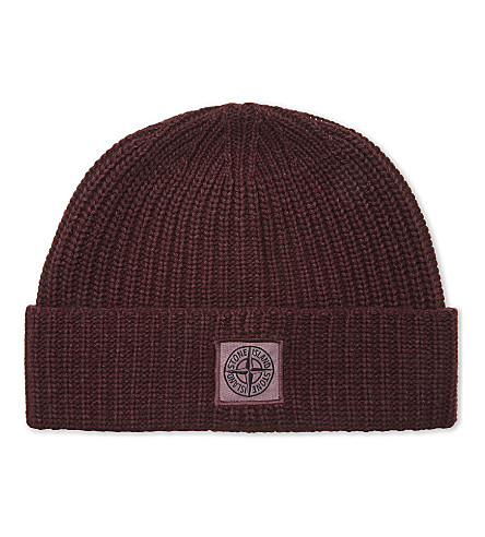 STONE ISLAND Patch logo wool-cashmere blend beanie (Bordeaux