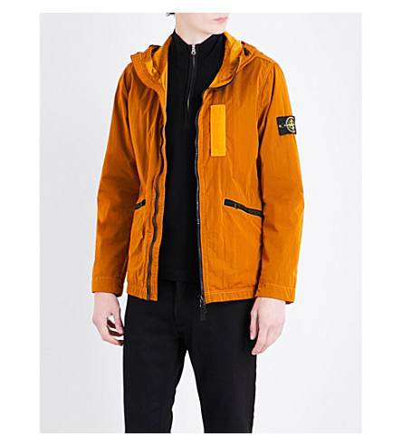STONE ISLAND Hooded shell jacket (Arancio