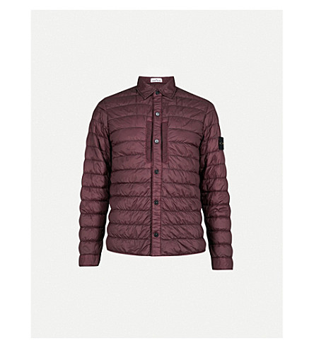 STONE ISLAND Quilted shell jacket (Bordeaux