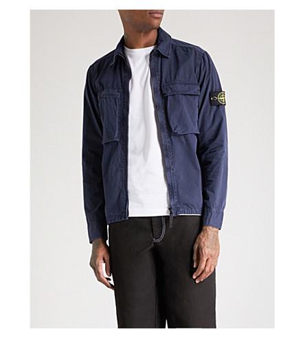 STONE ISLAND Brushed cotton jacket (Ink+blue