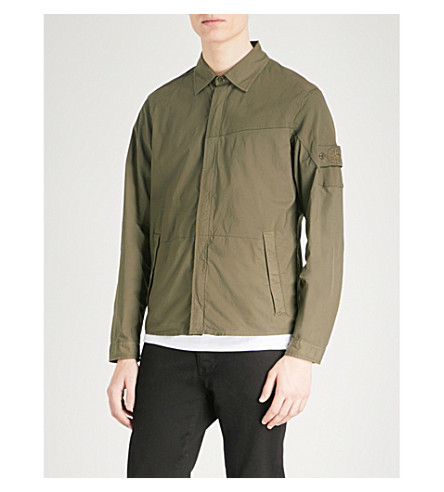 STONE ISLAND Ghost cotton-blend overshirt (Military+green
