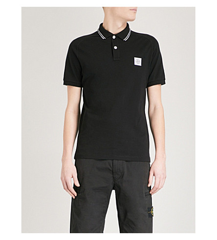 STONE ISLAND Logo-embroidered stretch-cotton polo shirt (Black