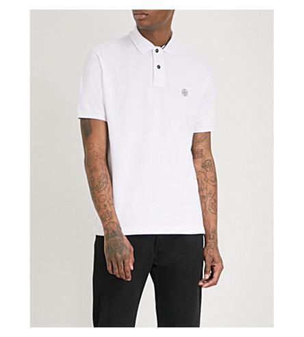 STONE ISLAND Logo-embroidered stretch-cotton polo shirt (Blanco