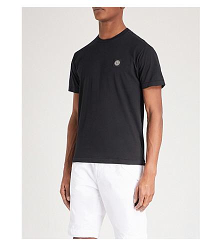 STONE ISLAND 徽标棉质平纹针织 t恤衫 (黑色