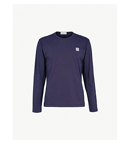 STONE ISLAND Logo-patch cotton-jersey top (Ink+blue