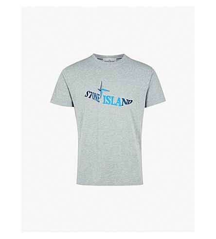 STONE ISLAND Logo-print cotton-jersey T-shirt (Grey