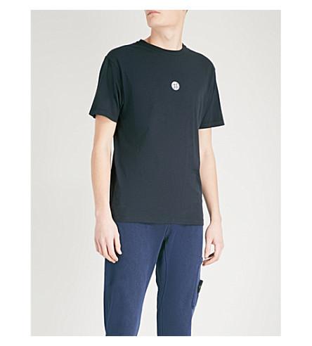 STONE ISLAND Logo-print cotton-jersey T-shirt (Navy