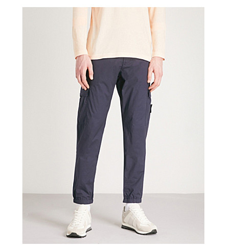 STONE ISLAND Logo patch regular-fit cotton trousers (Ink+blue