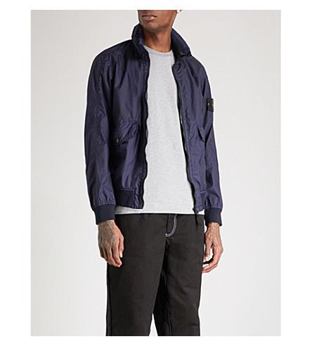 STONE ISLAND Concealed-hood shell jacket (Ink+blue