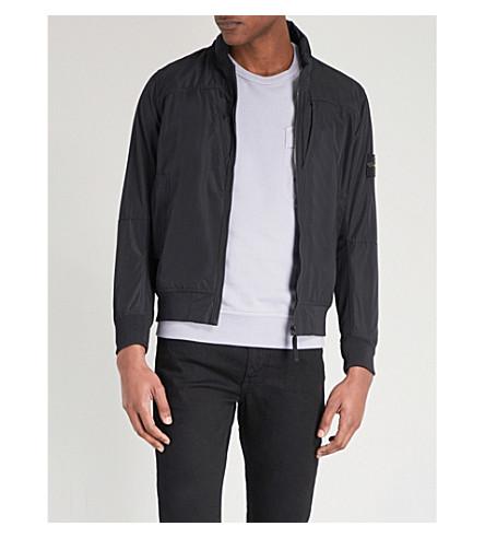 STONE ISLAND Stand-collar shell jacket (Black
