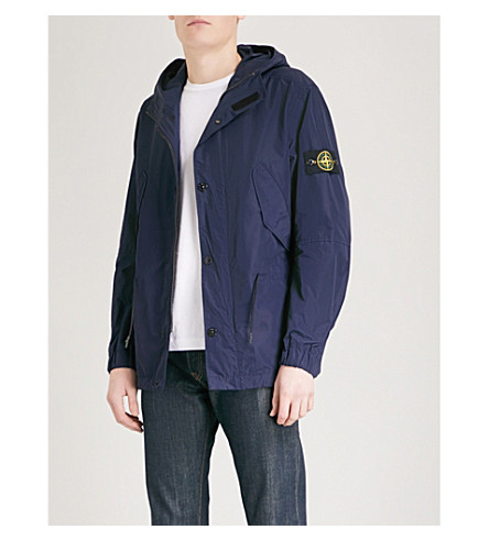 STONE ISLAND Hooded shell jacket (Ink+blue