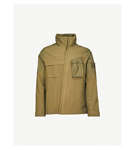 STONE ISLAND Ghost Tank Shield shell hooded field jacket (Military+green