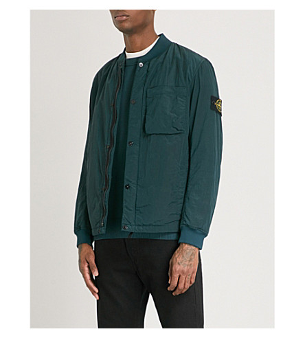 STONE ISLAND Stand collar shell bomber jacket (Green