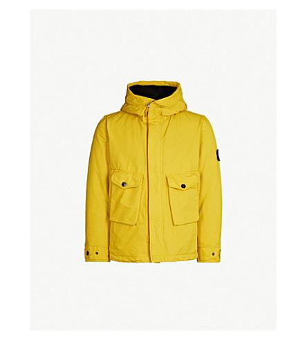 STONE ISLAND Padded shell hooded jacket (Mustard